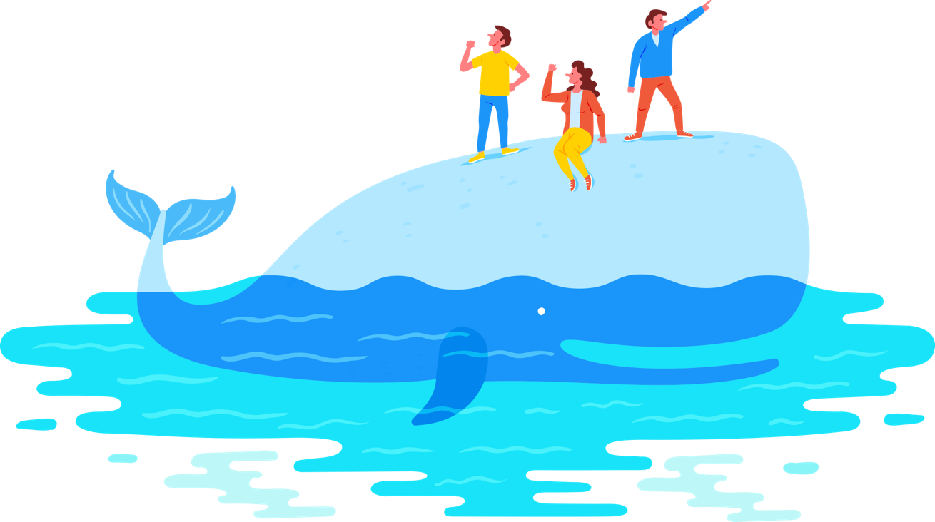 Hero image with AI assistants on riding the whale